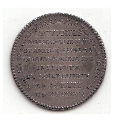 Jeton Edm. Cl. Bourru, doyen de médecine de la faculté de Paris 1788