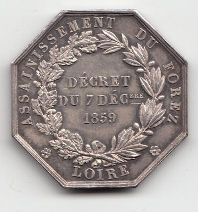 Jeton Napoléon III assainissement du Forez 1859