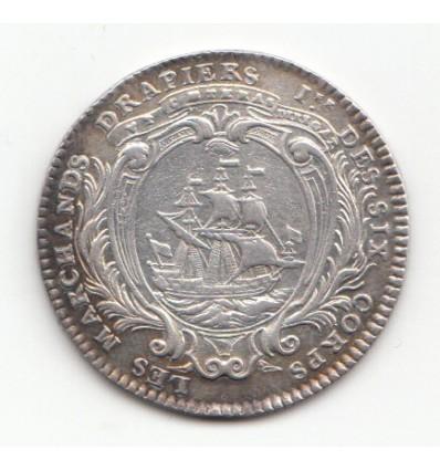 Jeton Louis XV corporation des marchands drapiers et tisserands de laine s.d.