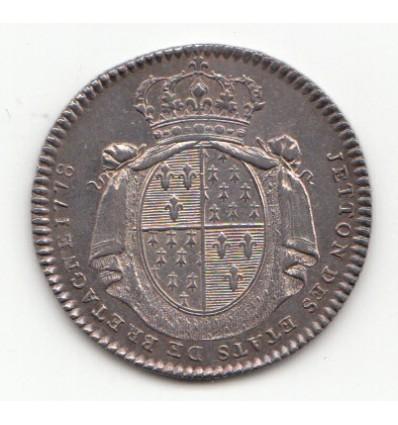 Jeton Louis XVI Etats de Bretagne 1778