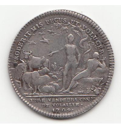 Jeton Louis XIV corporation des jurés vendeurs de volailles 1709