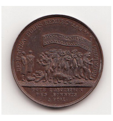 Médaille satirique de 1848 Abolition des bonnets à poil