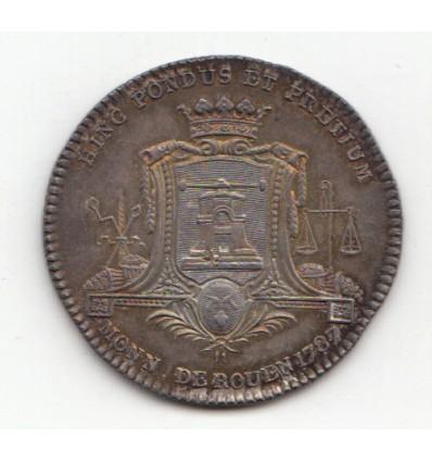 Jeton Louis XVI La Monnaie, ville de Rouen 1787