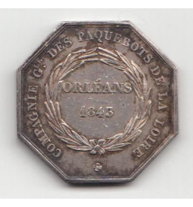 Jeton compagnie des paquebots de la Loire, Orléans 1843