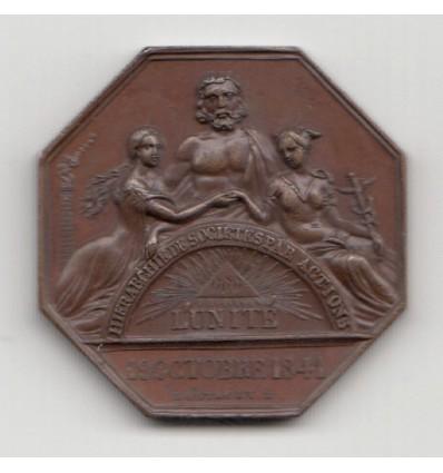 Jeton assurances l'Unité, comptoir de Valence ( Drôme ) 1844