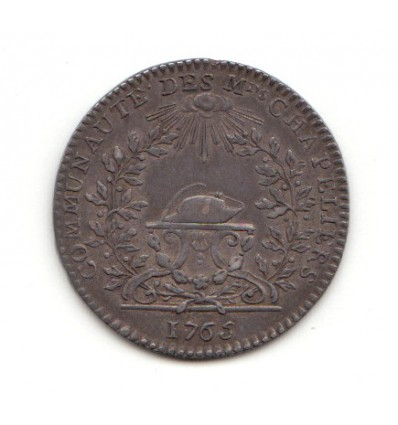 Jeton Louis XV corporation des marchands chapeliers 1765