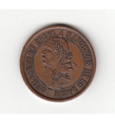 Médaille satirique Napoléon III le lâche / Guillaume le cruel 1870