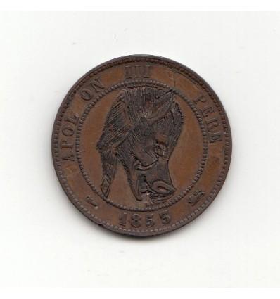 Satirique 10 centimes Napoléon III tête de cochon 1853 D