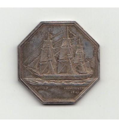 Jeton L'Univers compagnie d'assurances maritimes au Havre 1853
