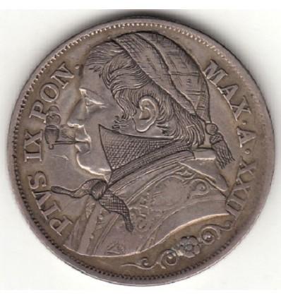 Italie, 2 lires satirique Pie IX 1868