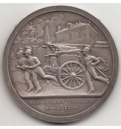 """Médaille de pompiers """" Dévouement, courage, émulation """" par Alphée Dubois  s.d."""