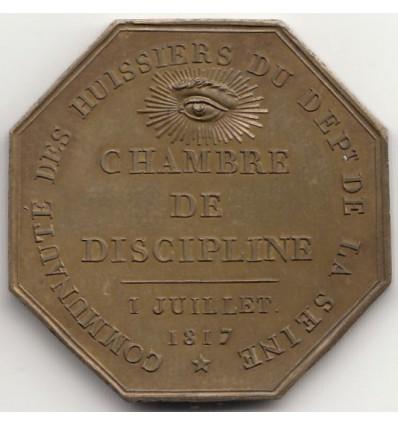Jeton Louis XVIII, huissiers du département de la Seine 1817