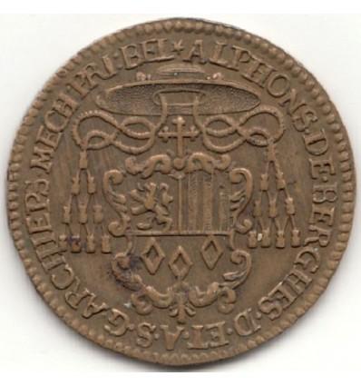 Jeton aux armes d'Alphonse de Berghes archevêque de Malines 1689