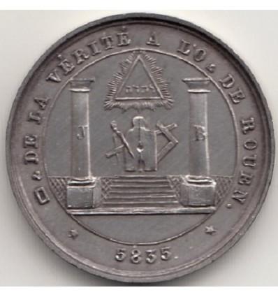 Jeton Orient de Rouen, loge de la vérité 1835