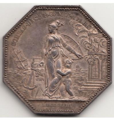 Jeton Louis XVIII compagnie d'assurances générales à Paris 1818
