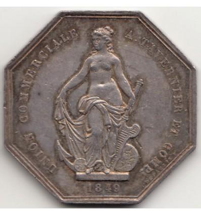 Jeton union commerciale A. Tavernier et comp. ville de Rouen 1849