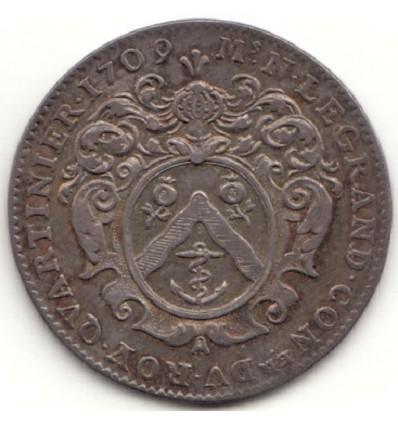 Noblesse IDF, jeton aux armes de N. Legrand, quartinier 1709