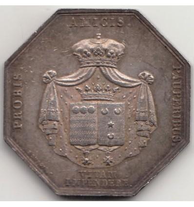 Jeton de mariage aux armes d'Etienne d'Aligre et Louise de Pontcarré 1818