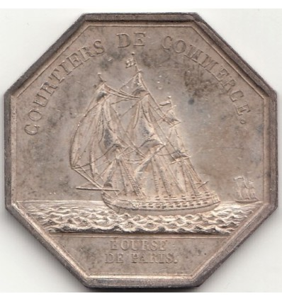 Jeton Louis XVIII courtiers de commerce, Bourse de Paris s.d.